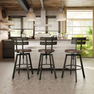 Amisco Accord Metal Counter Stool With Distressed Wood Seat | Overstock.com  Shopping   The