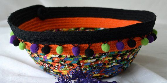 Halloween Decoration, Sale Handmade Bowl, Artisan Quilted Basket