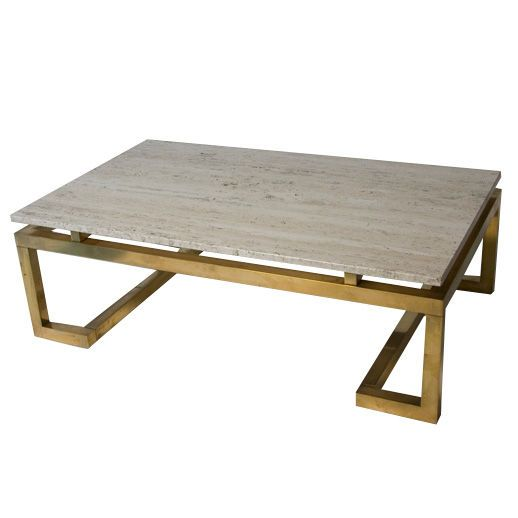 Travertine Top Brass Base Rectangular Coffee Table