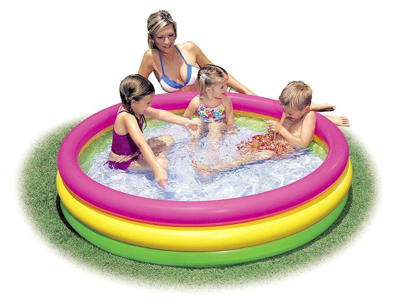 Amazon Com Intex Kiddie Pool Kid 39 S Summer Sunset Glow Design 58 Quot X 13 Quot Toys Amp Games Kiddie