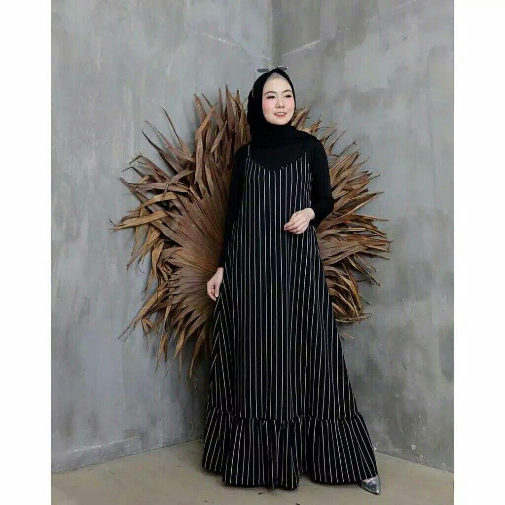 Gamis maxy tanpa tali pinggang  Pakaian wanita, Model baju wanita