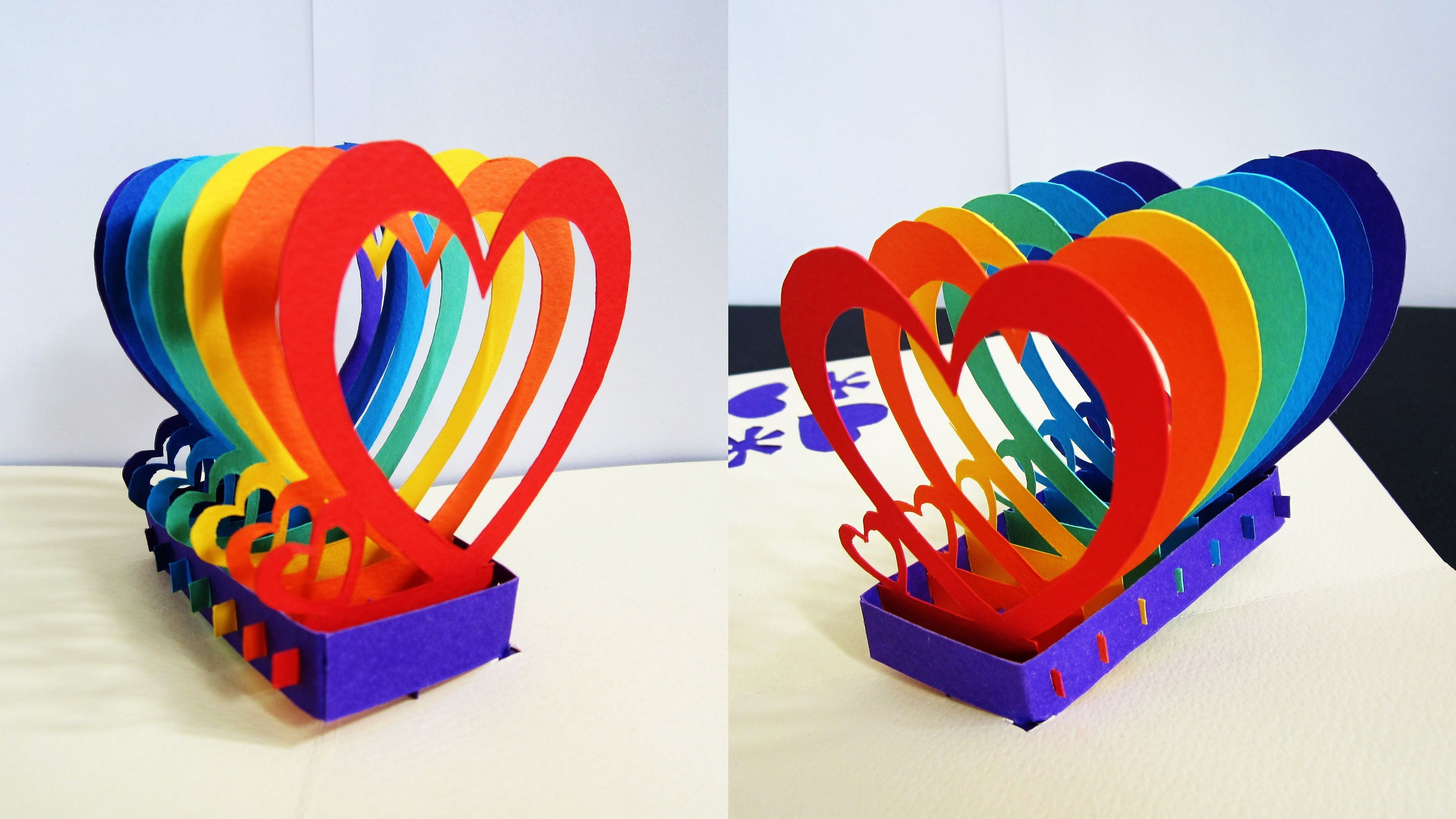 Pop Up Card (rainbow Hearts)  Learn How To Make A Popup Heart Greeting