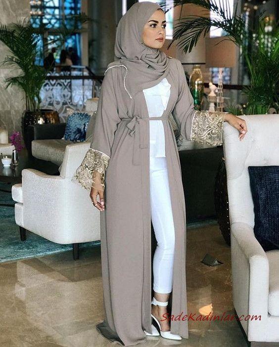2020 Tesettur Kombinleri Beyaz Pantolon Gomlek Kahverengi Uzun Hirka Beyaz Stiletto Ayakkabi Islami Moda Mutevazi Moda Moda Kadin
