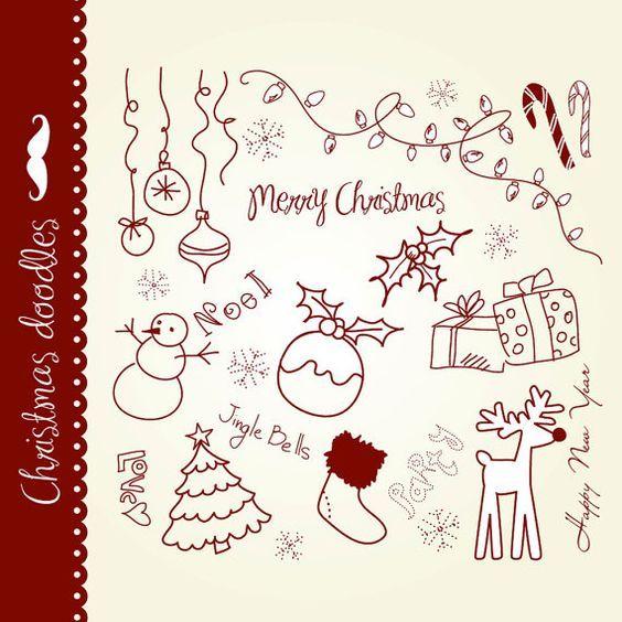 christmas doodles clip art hand drawn elements digital collage rh pinterest com Back to School Doodles KPM Doodles Clip Art