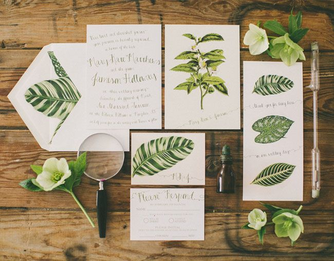 vintage botanical wedding inspiration | invitation suite, foxes, Wedding invitations