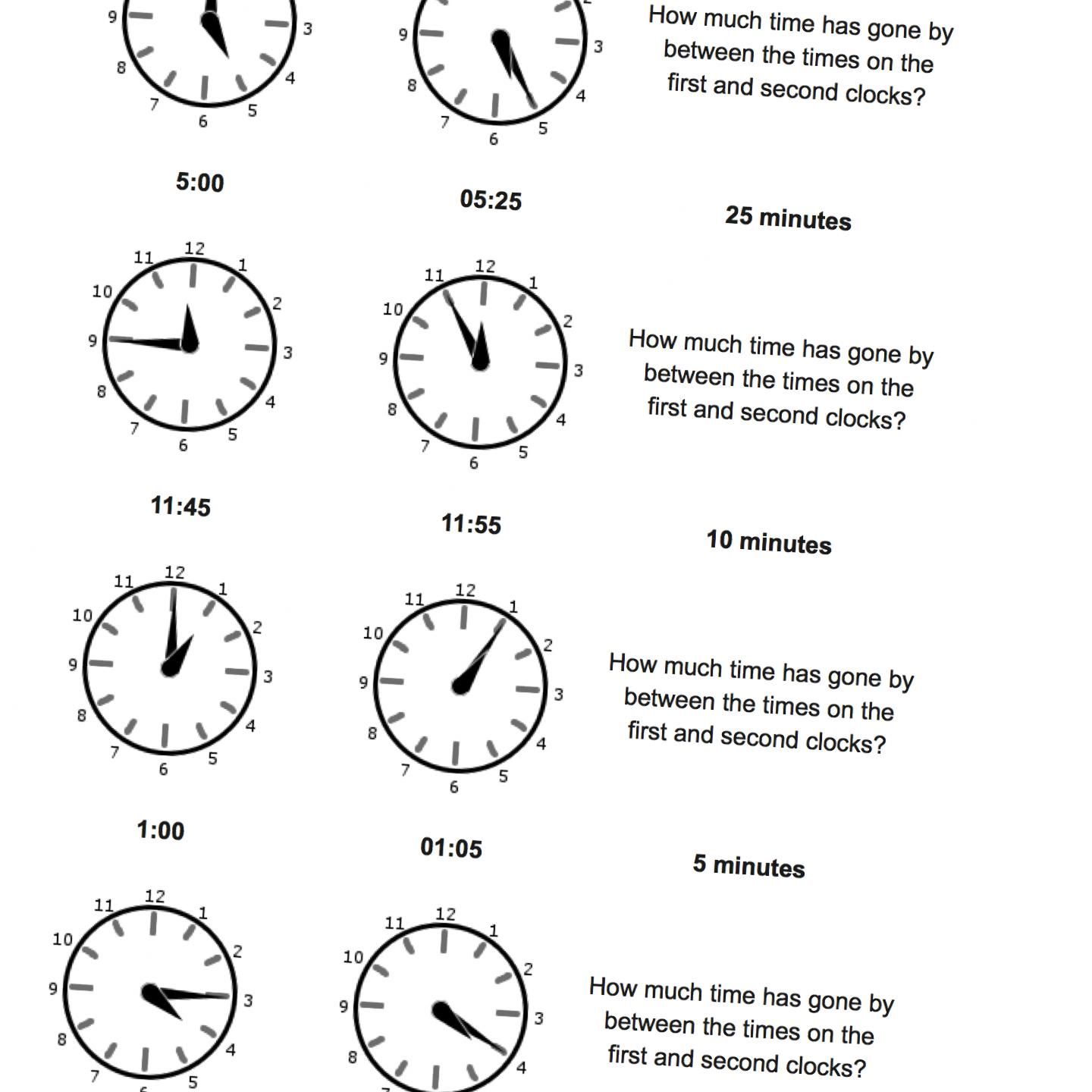 Analog Time Worksheets Starting From Quarter Hours Math