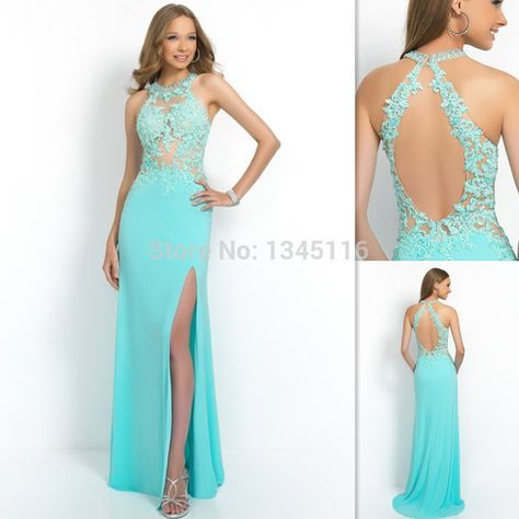 2016 nueva aguamarina Backless Prom vestidos Halter See Through