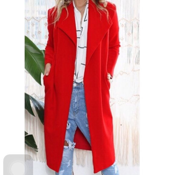 Red Trench Coat So comfy and warm Jackets & Coats Trench Coats