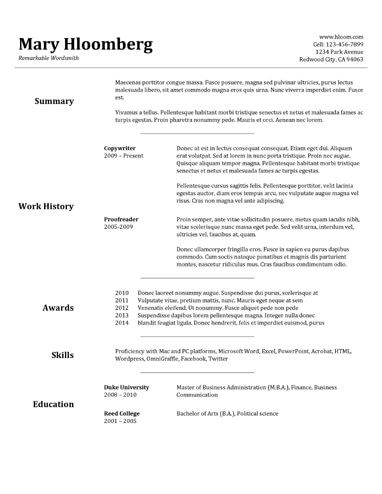 Goldfish Bowl Google Docs Resume Template | Resume Templates and ...