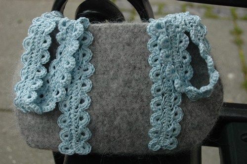 Felted handbag.  Especially like the hairpin lace handles--free pattern