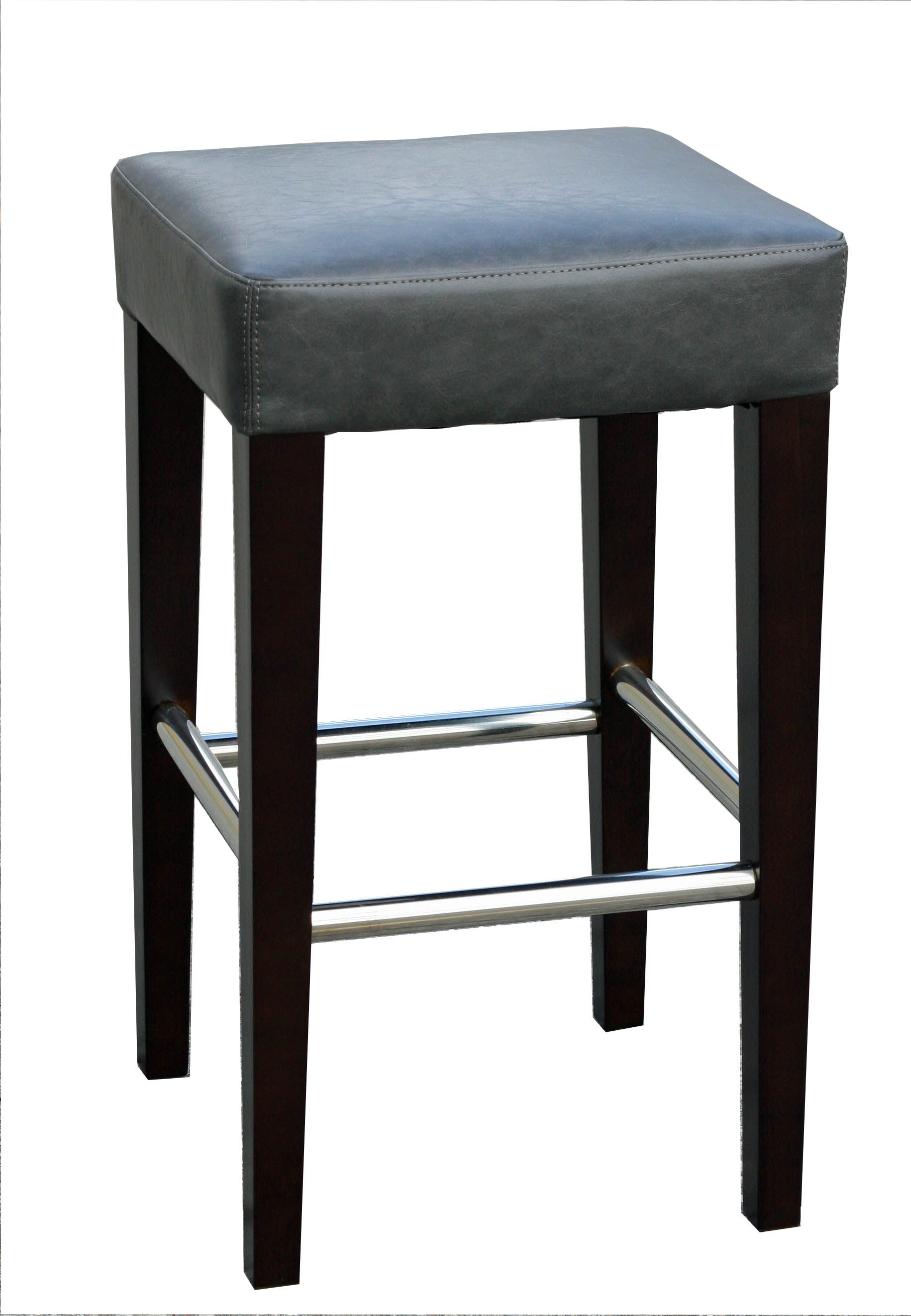 R 1810 Backless Leather Counter Stool In Grey Or Brown