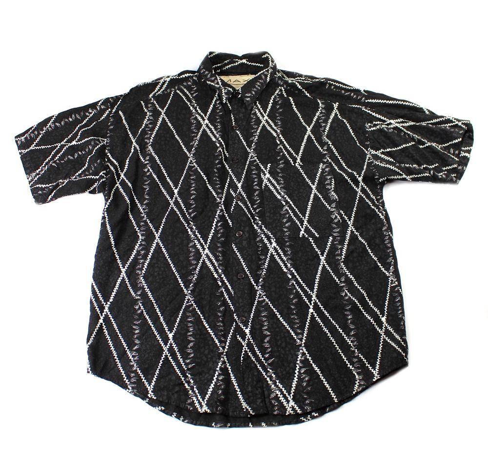 MAXX FM Men's Vintage 80s/90's Dark Green & Purple Short Sleeve, Button Down Collar Shirt Medium, 100% Cotton, Made in the U.S.A.