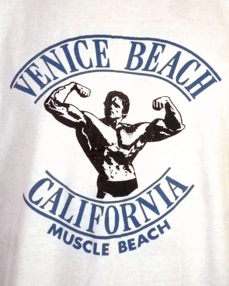 bbaa6aa2 vtg 80s soft Venice Muscle Beach T-Shirt Body Building Arnold Schwarzenegger  L