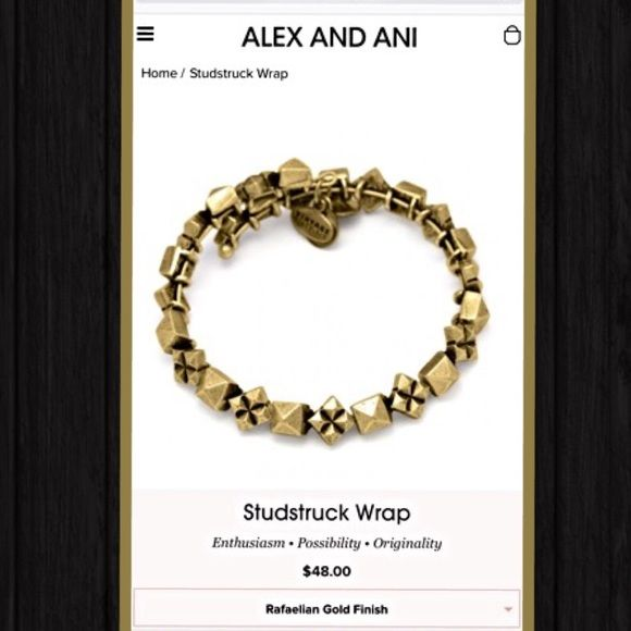 Alex & Ani Bracelet BRAND NEW!! With tags! Regular $48! GREAT DEAL! Inspired by the late 60s rock scene that created star-struck fans dedicated to a cultural revolution, the Studstruck Wrap is a bold statement of possibility. Strewn with metallic studs, this geometric design is playful, adventurous, and confident. Adorn yourself with the strong energy of the Studstruck Wrap to stay self-assured in all endeavors. Alex & Ani Jewelry Bracelets