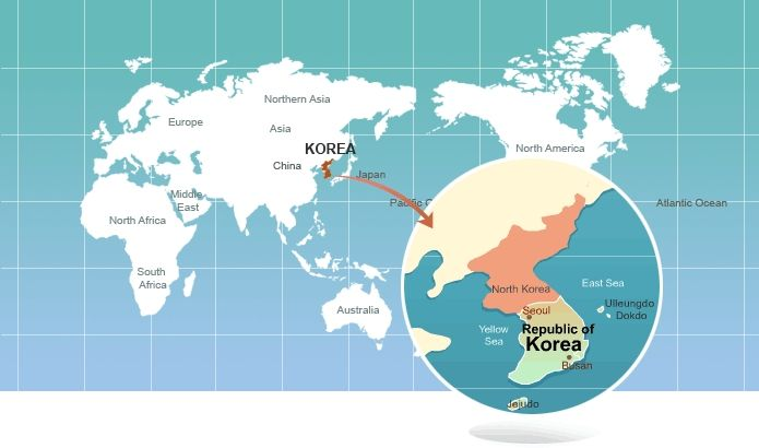 South Korea On World Map Picture world map in the picture it shows ...