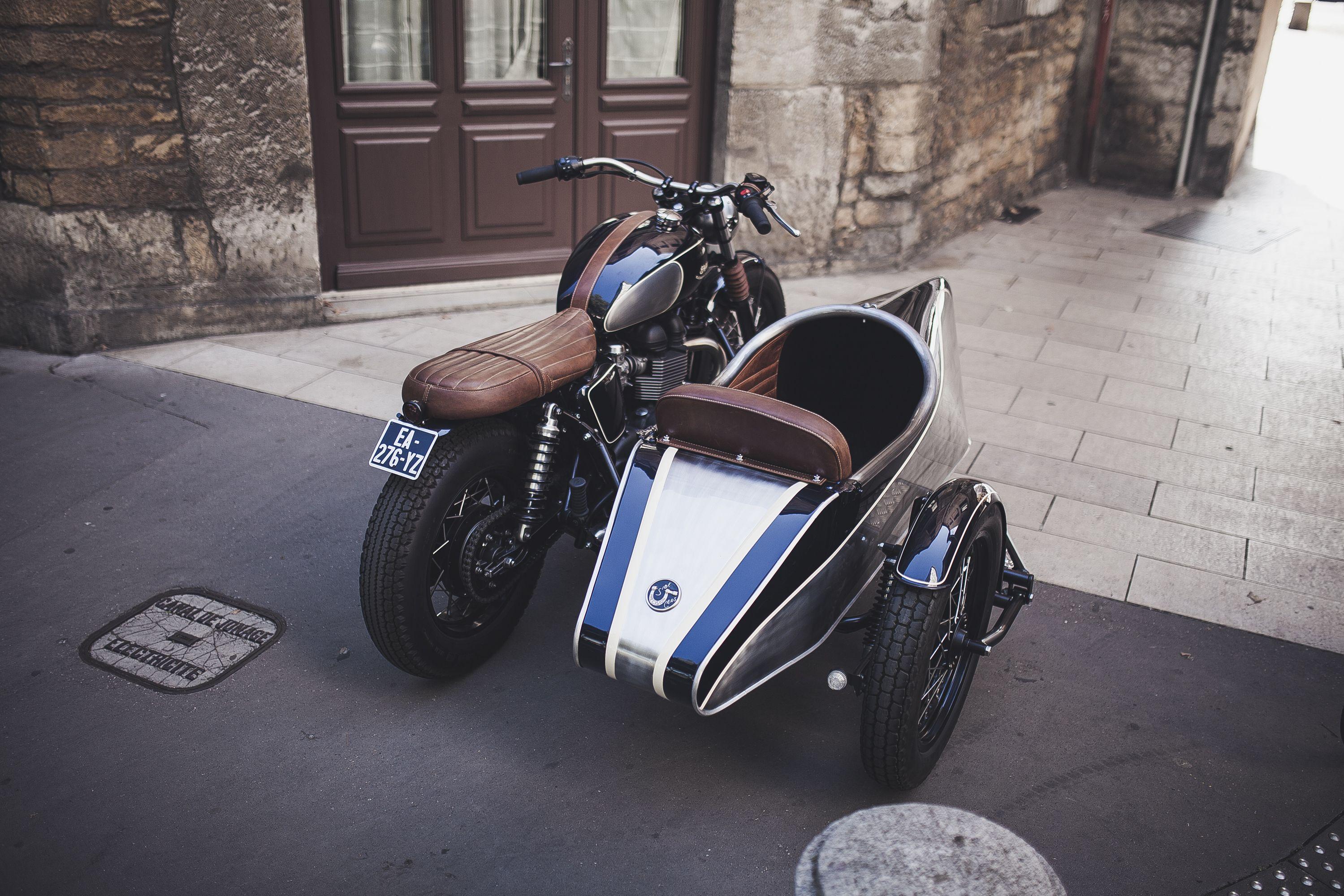 triumph bonneville t100 side car by baak motocyclettes workshop france triumph bonneville. Black Bedroom Furniture Sets. Home Design Ideas
