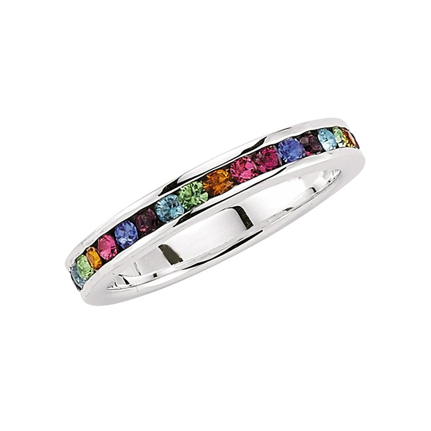 Jewelco London Rhodium Plated Sterling Silver Multi Coloured Round Brilliant Cubic Zirconia Rainbow Eternity Ring o1zzltP