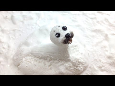 ▶ Baby seal/ Polymer clay and snow effect with baking soda - YouTube