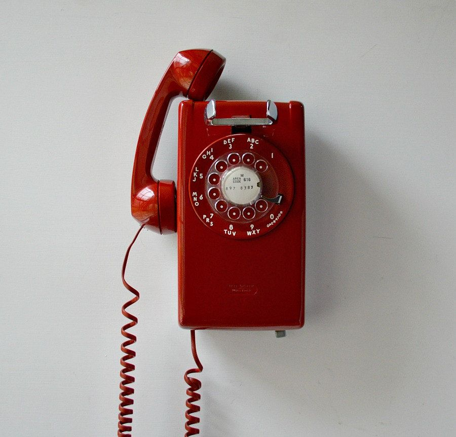 Red Wall Phone Working Rotary Dial Wall Mount Telephone Wall Phone Retro Phone Phones For Sale