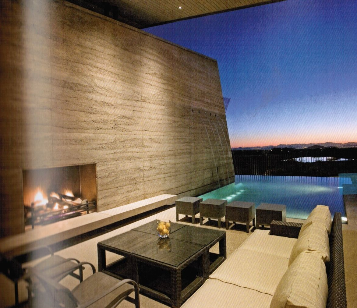like textrue of concrete and open fireplace