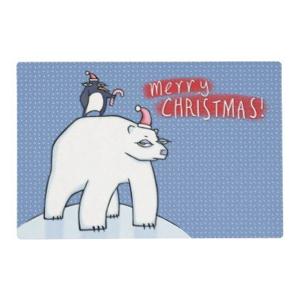 Polar Bear Christmas Blue Placemat Party Gifts Gift Ideas Diy Customize Christmas Placemats Polar Bear Christmas Christmas Designs