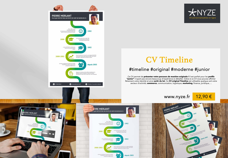 Le Cv Timeline Permet De Presenter Votre Parcours De Maniere Originale Il Est Parfait Pour Les Profils Junior N Ayant Pas En Tech Company Logos Company Logo