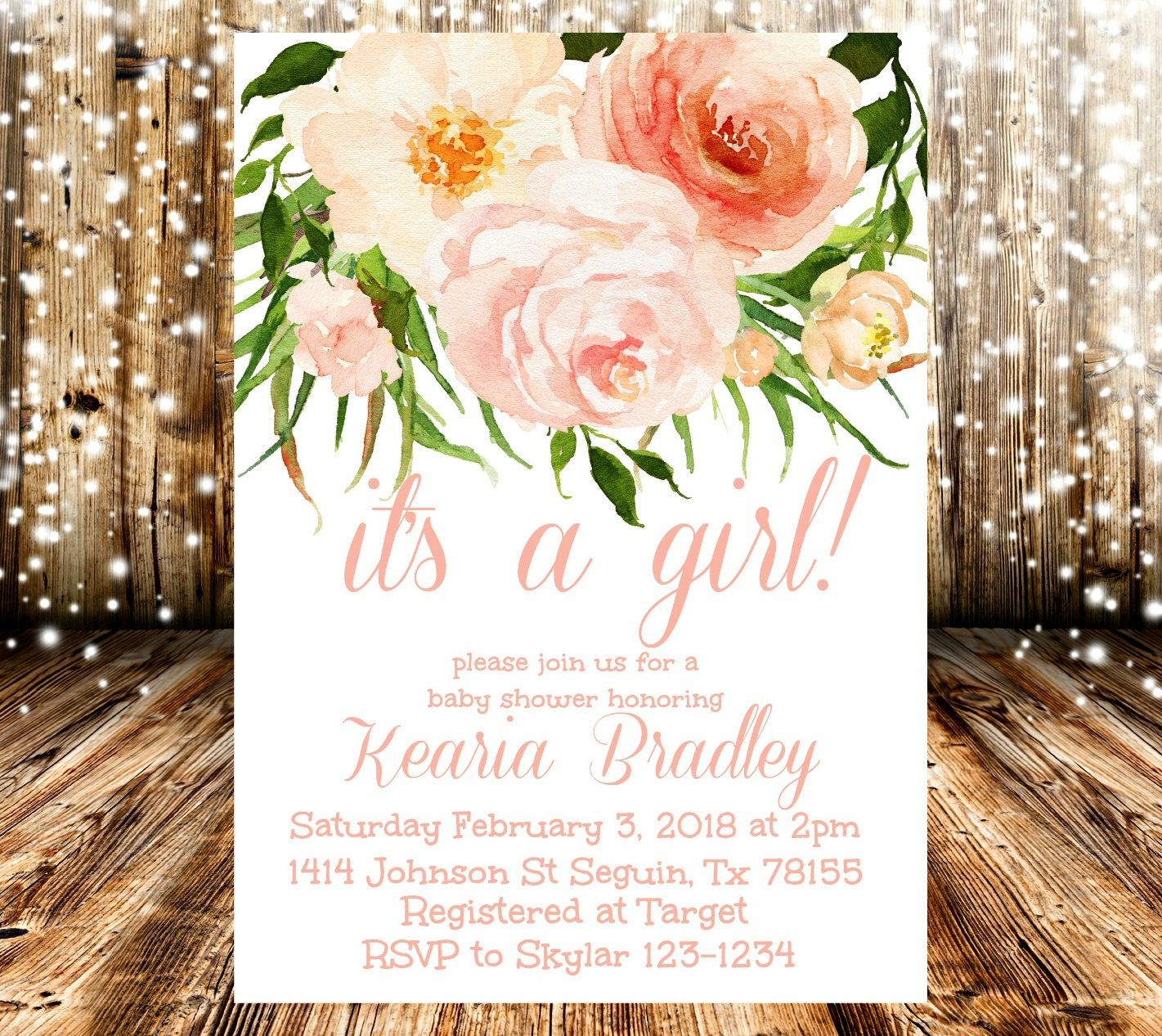 Peach Coral And Pink Floral It S A Girl Baby Shower Invitation