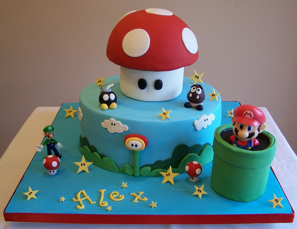 "https://flic.kr/p/aqTuV9 | Super Mario cake | I made this cake for my son's birthday back in April. He loves Super Mario!! 10"" cake - Mario and Luigi are toys, all the other details are handmade. Have a great day!!!"