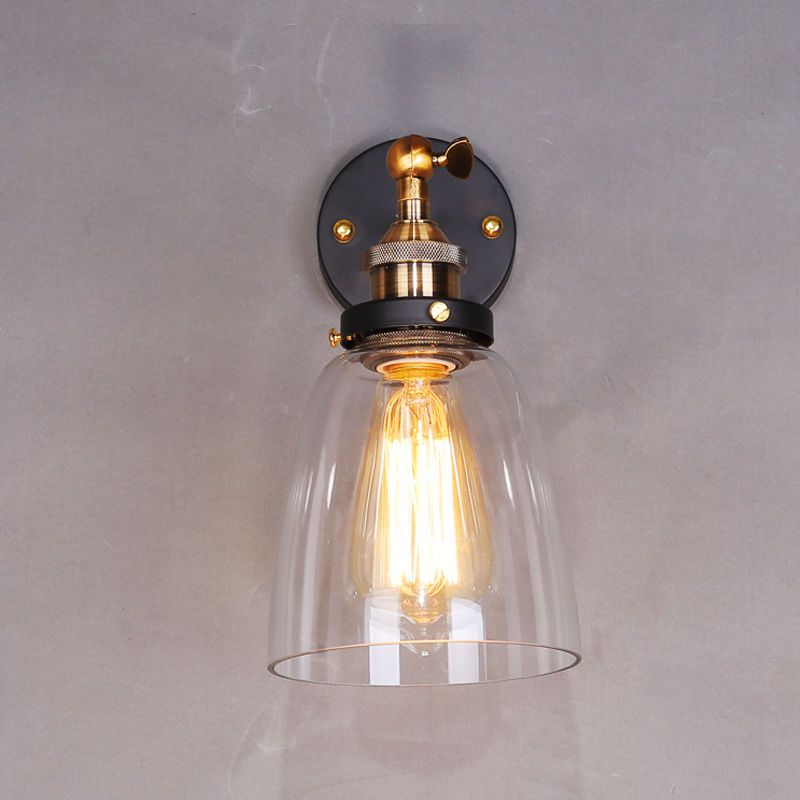 MODERN VINTAGE INDUSTRIAL LOFT METAL GLASS RUSTIC SCONCE WALL LIGHT WALL LAMP in Home Furniture u0026 DIY Lighting Wall Lights | eBay & Modern vintage industrial loft metal glass rustic sconce wall light ...