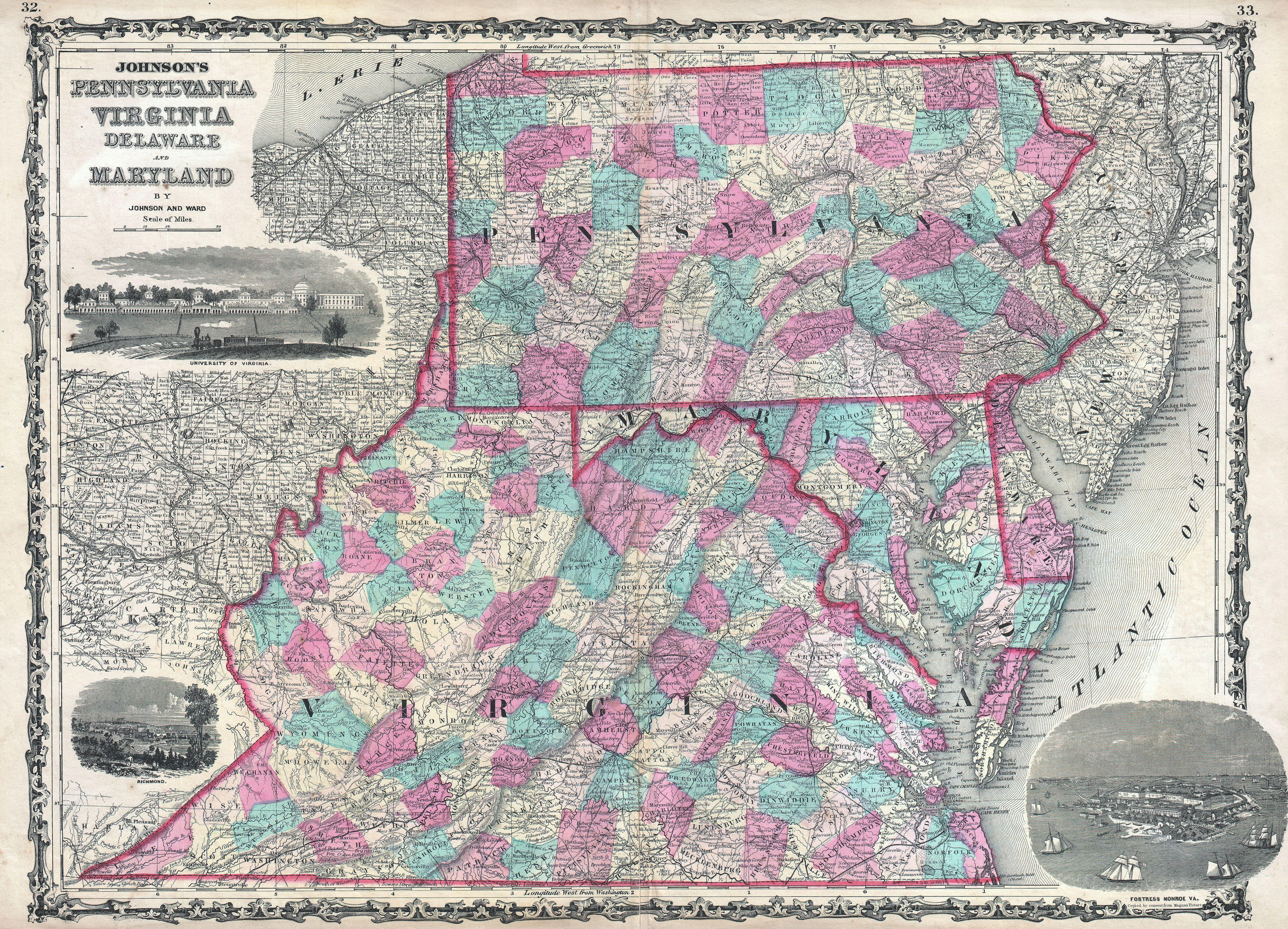 map of maryland pennsylvania and west virginia Virginia In 1862 Before West Virginia Separated Map Virginia map of maryland pennsylvania and west virginia