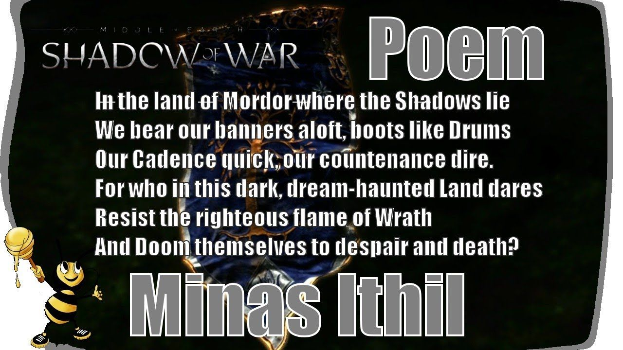 Shadow Of War Minas Ithil Ithildin Door Poem Games Videogames Xboxone Ps4 Poems Wrath Shadow
