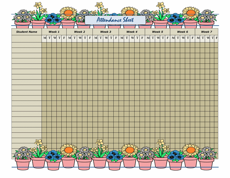 It's just a photo of Juicy Free Printable Attendance Sheets for Teachers