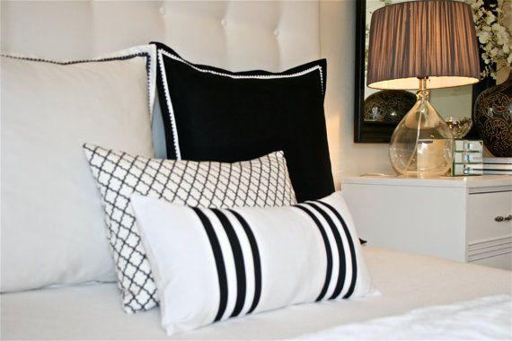black border pillow sham cover with pom