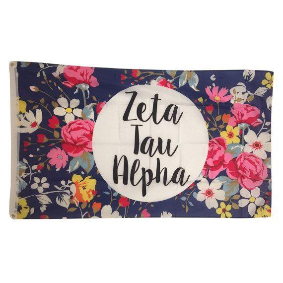 Zeta Tau Alpha Sorority Floral Flag - Brothers and Sisters' Greek Store