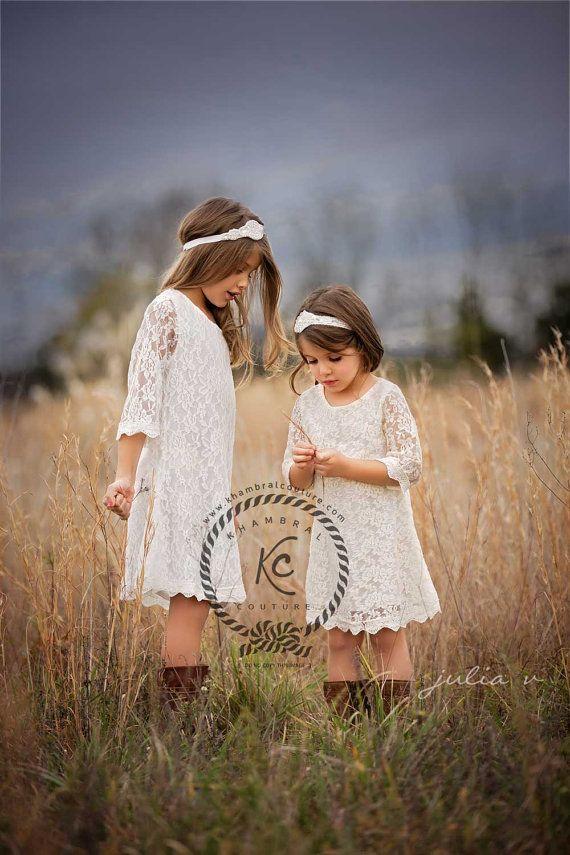 flower girl dress white flower girl dress girls door KhambralCouture
