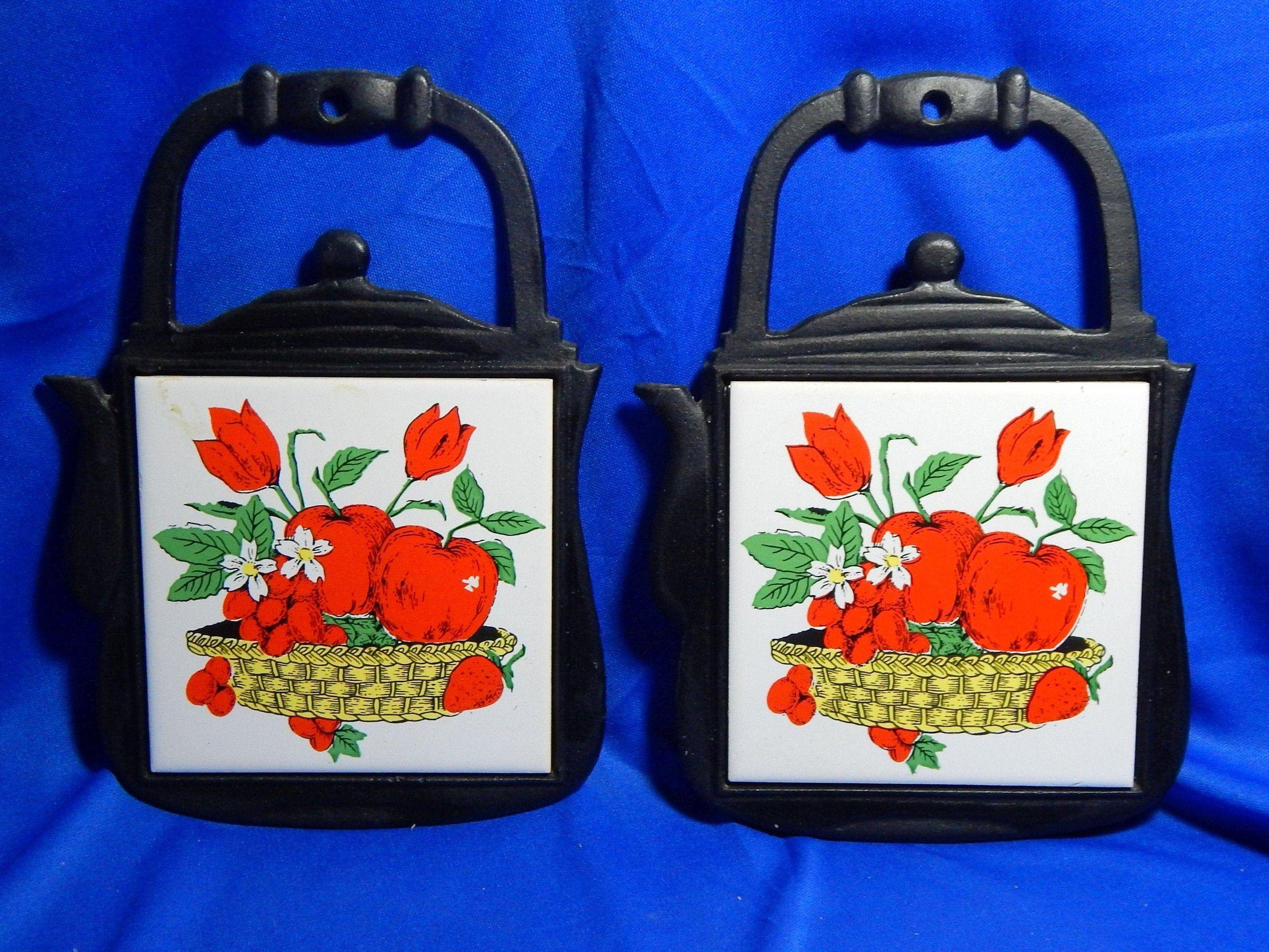 Cast Iron and Ceramic Kettle Trivet Red Tulips Design