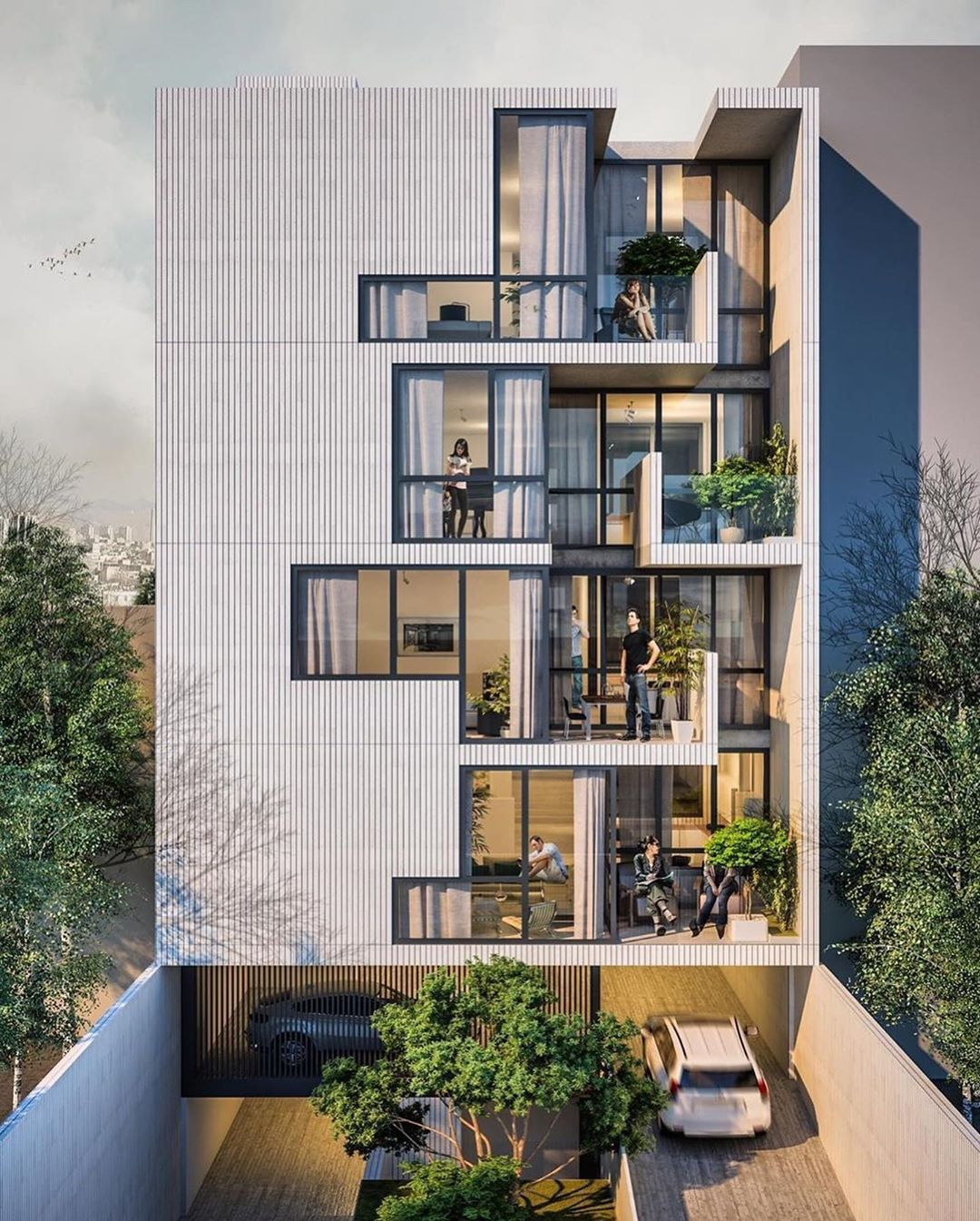 "architecture.com on Instagram: ""Gol Afshan Residence (facade study), designed by @alrzsh Visualized by @mohammad_reza_hoorjandi  #archidesign #urban #architect…"""