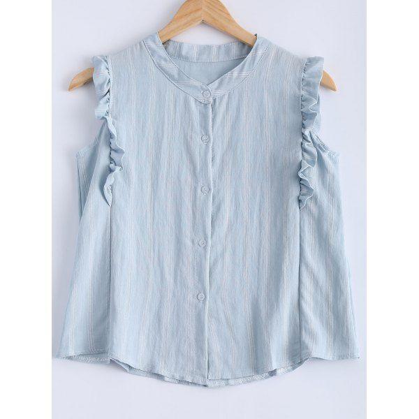 Stylish Sleeveless Flounce Blouse For Women — 8.60 € ------------Size: ONE SIZE Color: LIGHT BLUE