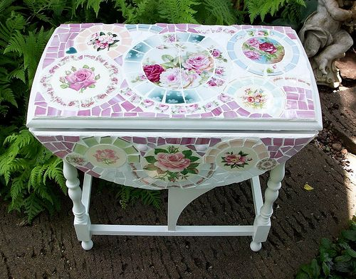 SMALL DROP LEAF MOSAIC TILE TABLE by hillspeak, via Flickr