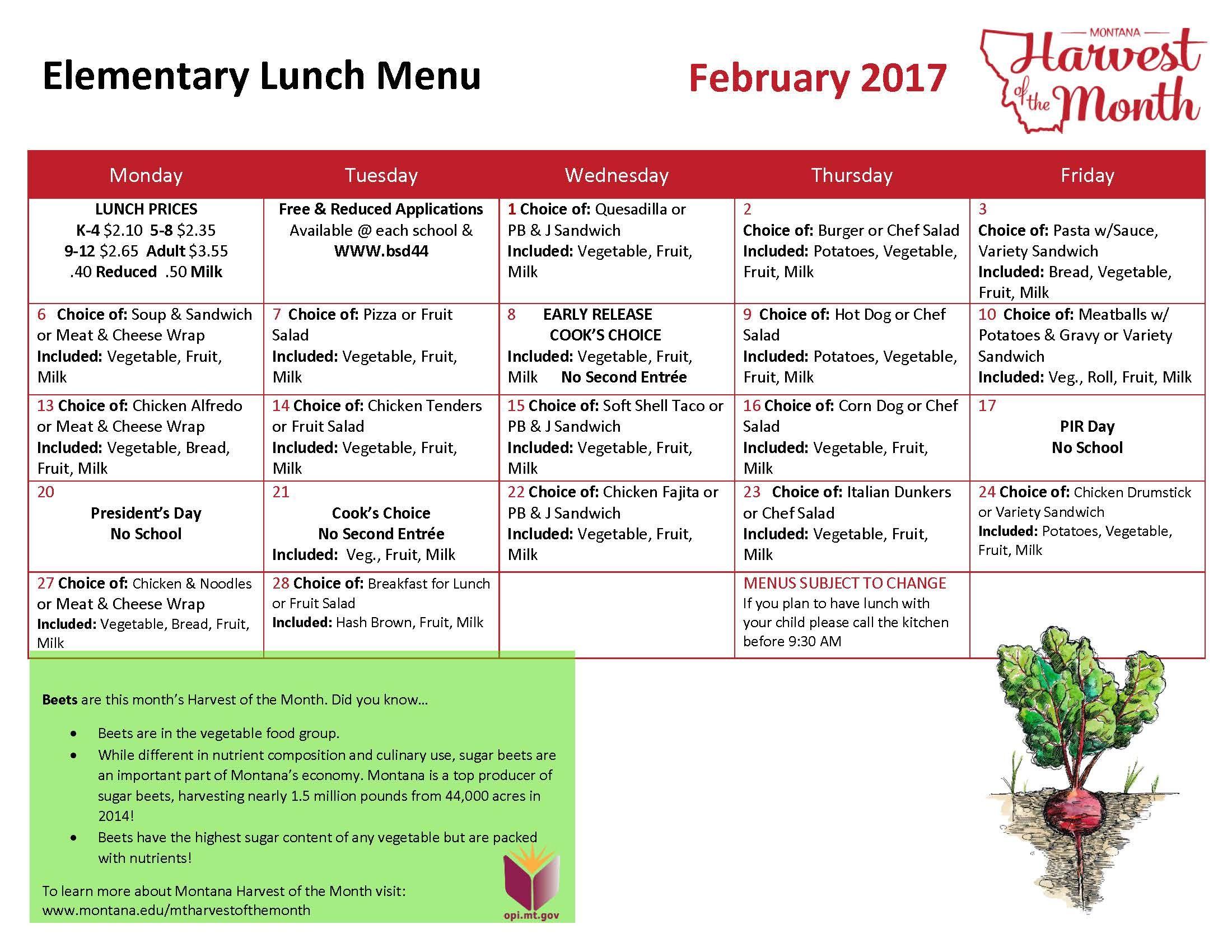 February 2017 Elementary Lunch Menu