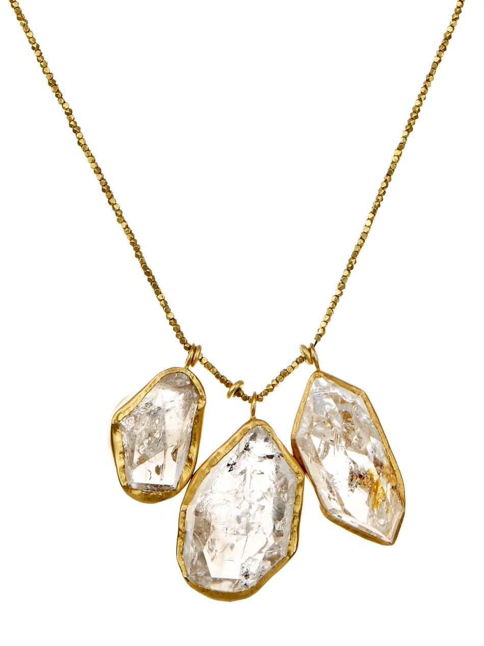 85898651a Pippa Small Herkimer diamond-quartz & gold necklace | JEWELRY | Gold ...