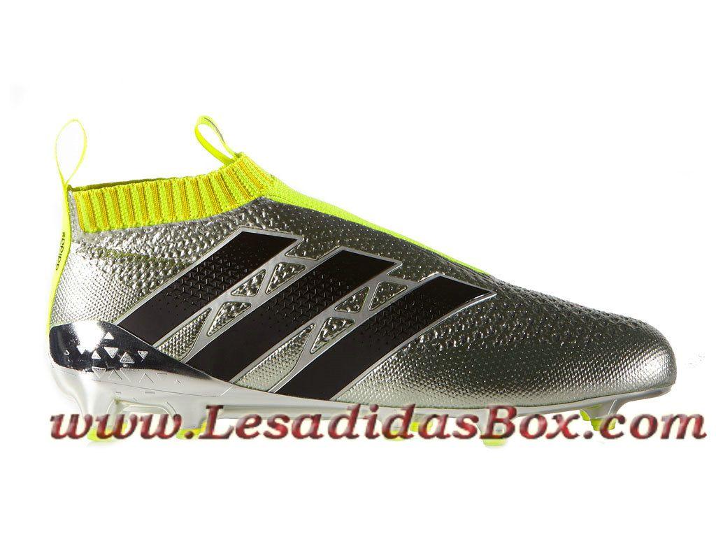 Adidas Homme Football Chaussures ACE 16+ Purecontrol Primeknit Terrain souple Silver Met Adidas Prix