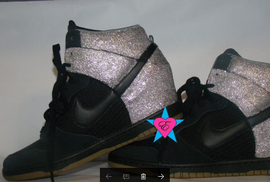 Silver Glitter Sparkle Nike Dunk Sky Hi Wedge Sneakers  073ad3acf38c