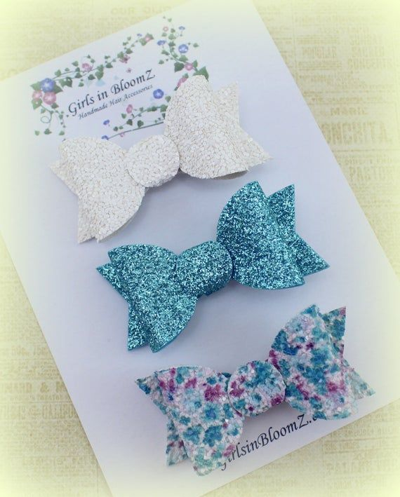 Teal and white hair bows/Girls small hair bows/Gift for girl/Set of 3 hair bows/Sparkly hair bows/Toddler hair bows/Pigtail clips/Cute bows