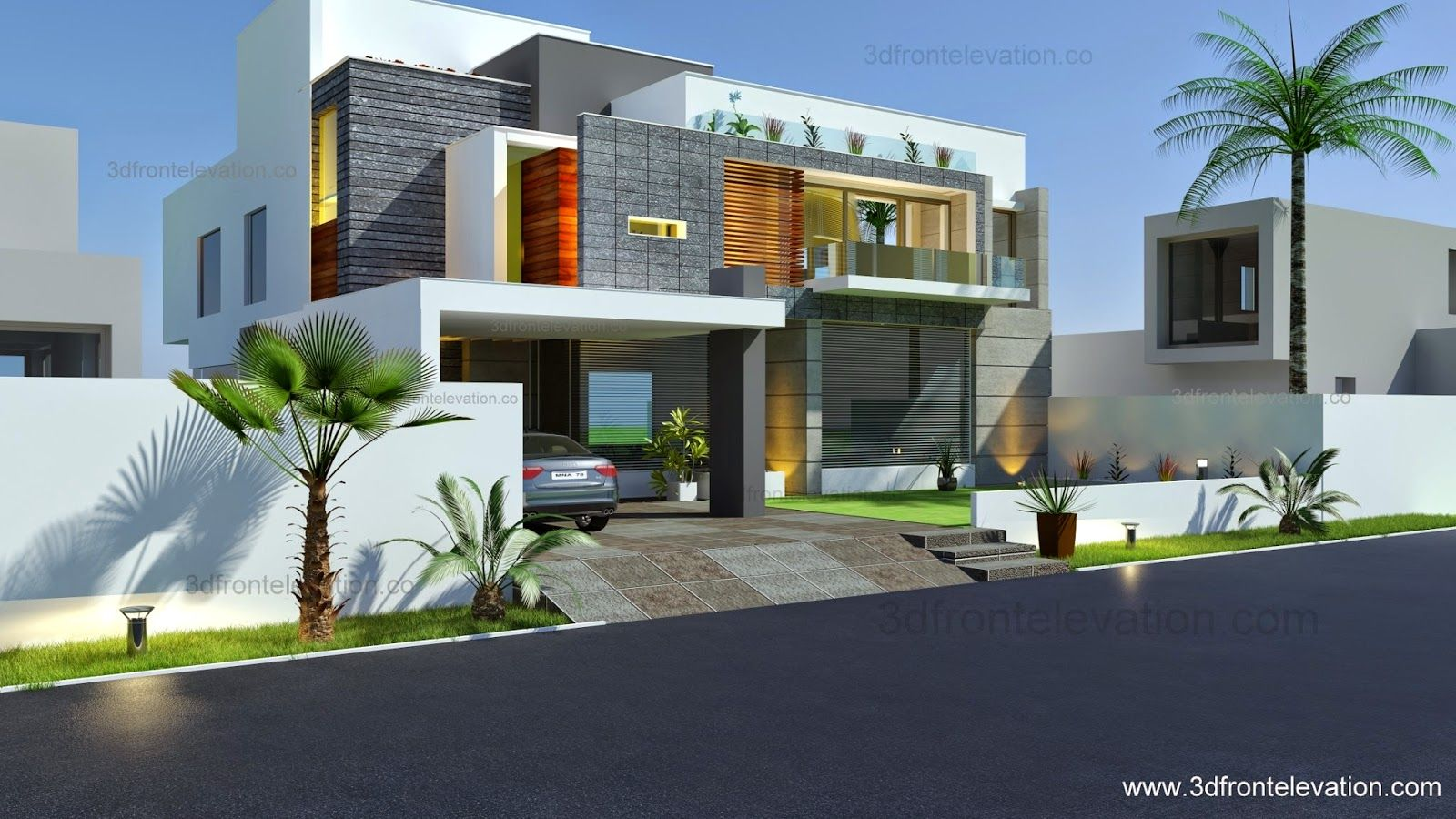 3d front beautiful modern contemporary for Modern villa plans and elevations