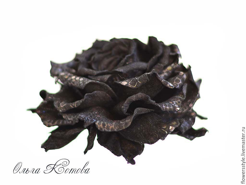 Купить Черная роза брошь из кожи цветочное украшение крупное - черный, черная роза
