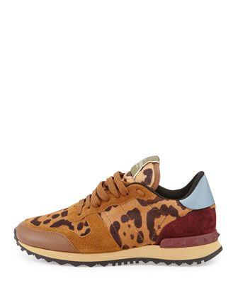 84ee12e255 Valentino Rockstud Leopard-Print Calf Hair Sneaker