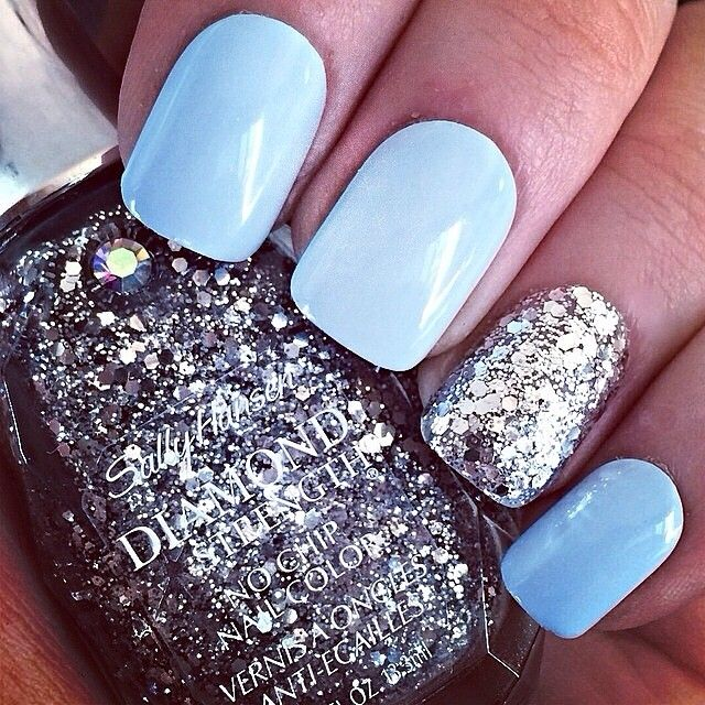 light blue with glitter accent