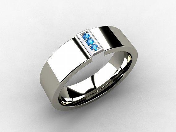 Men S Titanium Wedding Band With Blue Diamonds In 18k White Gold Setting By Torkkelijewellery 5 Men Diamond Ring Engagement Rings For Men Mens Wedding Rings