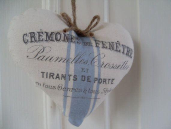 Cremones de Fenetre Blue ticking French by Thelavenderhutcom, $8.00